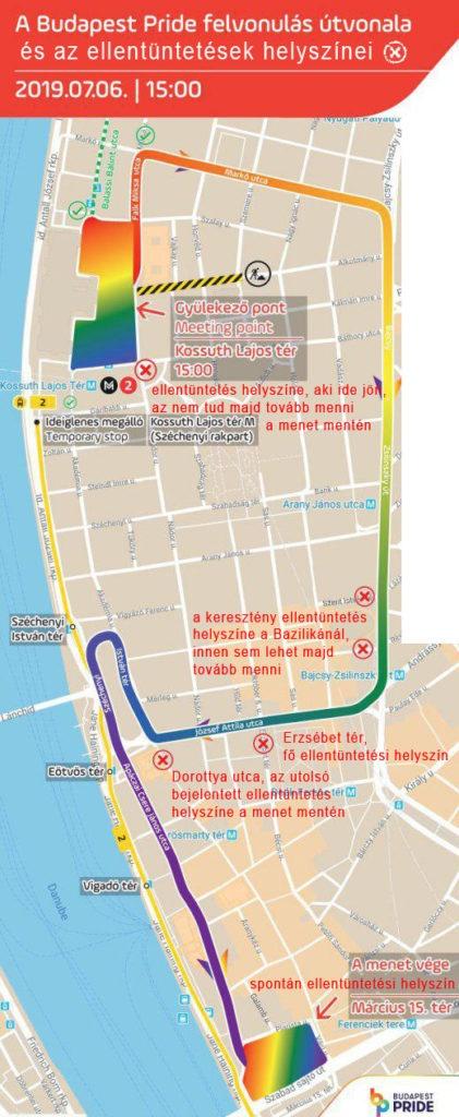 A Pride útvonala és az ellentüntetések helyszínei
